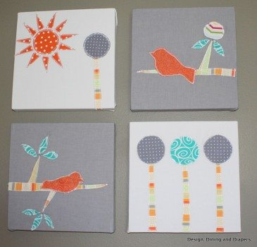 modern nursery, orange accents, orange and gray, bird themed, trees, bird artwork, custom nursery artwork