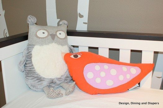 modern nursery, orange accents, orange and gray, bird themed, trees, bird pillows, owls