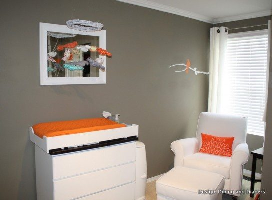 modern nursery, orange accents, orange and gray, bird themed, white nursery furniture, trees