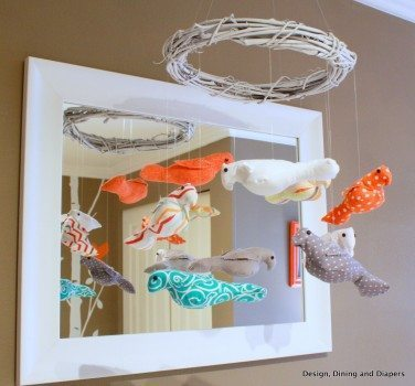 modern nursery, orange accents, orange and gray, bird themed, bird mobile