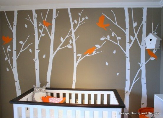 bird nursery, orange nursery, tree decals