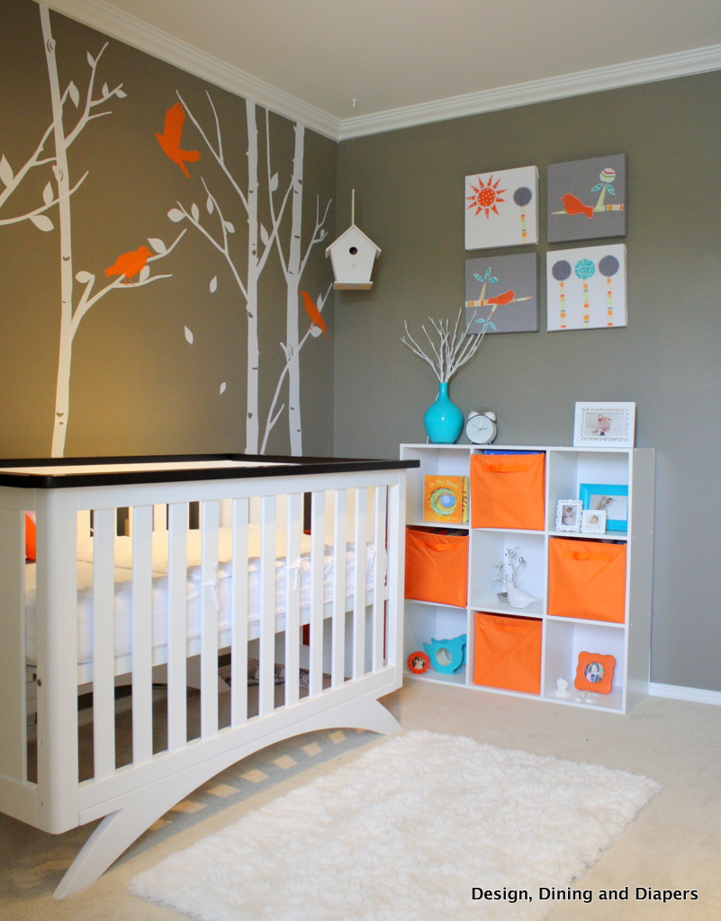 Modern Nursery, Orange Accents, Orange And Gray, Bird Themed, White Nursery  Furniture