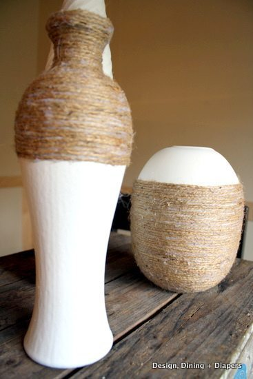 jute wrapped vases