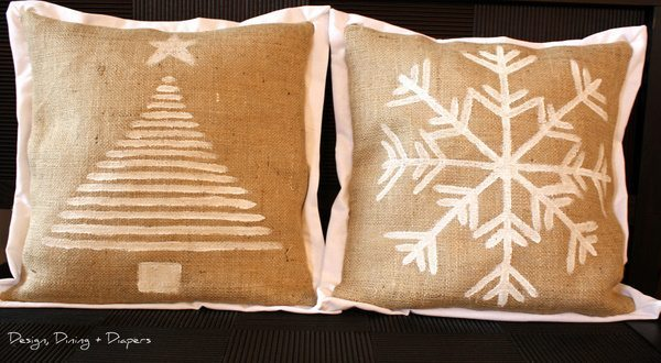 DIY Burlap pillows, Holiday pillows