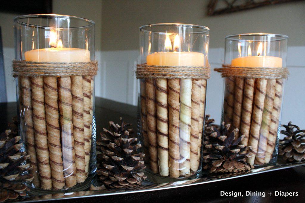DIY candle display, christmas