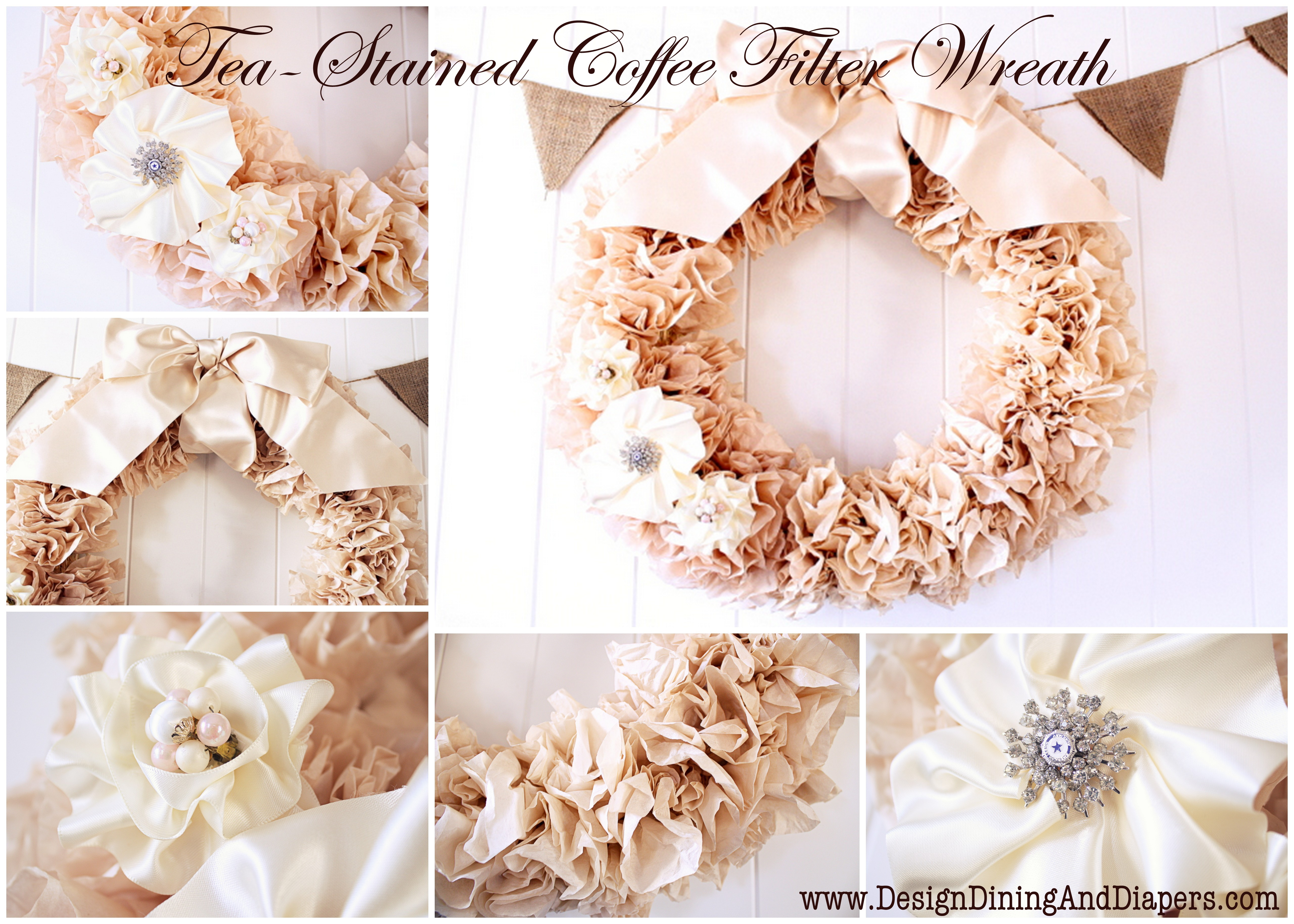 crafting on a budget diy tea stained coffee filter wreath. Black Bedroom Furniture Sets. Home Design Ideas