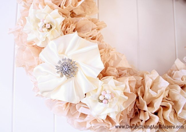 Tea Stained Coffee Filter Wreath Flowers