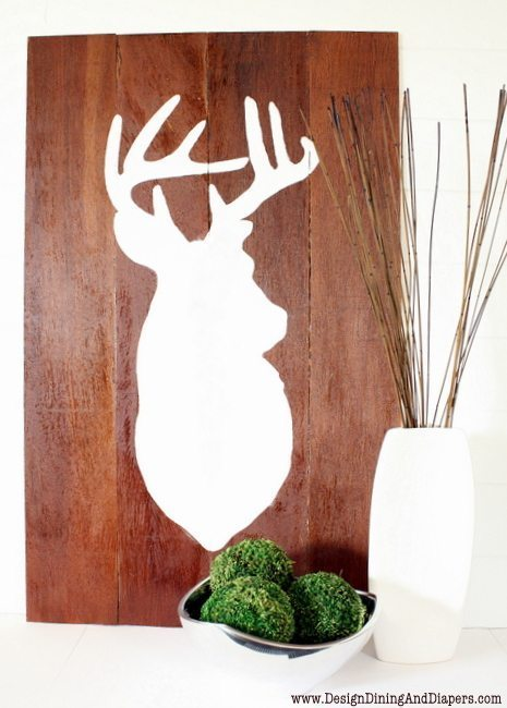 Wall Art Of Deer : Diy deer wall art design dining diapers