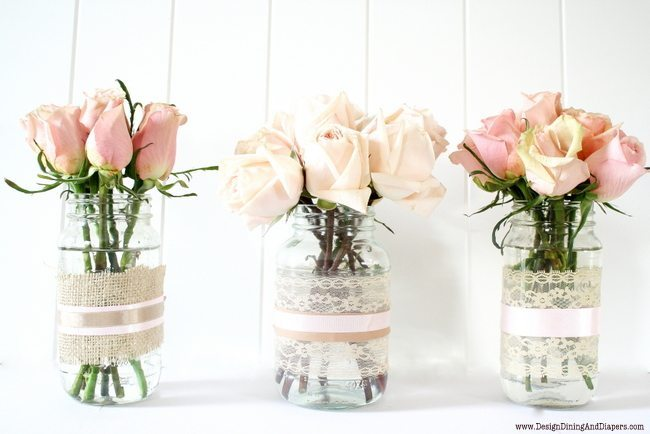 recycled jars into vases, shabby chic decor