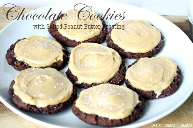 chocolate peanut butter cookies, gluten-free, peanut butter frosting
