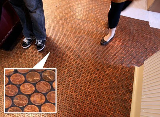 Top 10 tuesday 10 ways to decorate with pennies - Floor made out of pennies ...