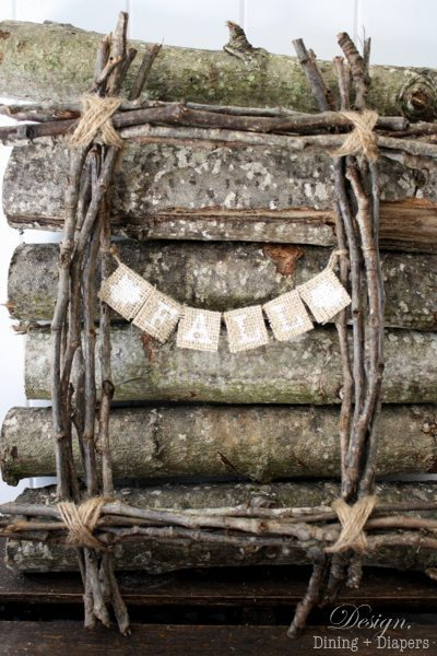 rectangular wreath, fall wreath, door decor, rustic wreath, burlap, inexpensive wreath, unconventional wreaths