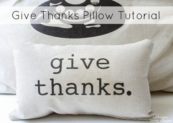 Give Thanks Drop Cloth Pillow, thanksgiving decor, thanksgiving pillow, neutral holiday decor