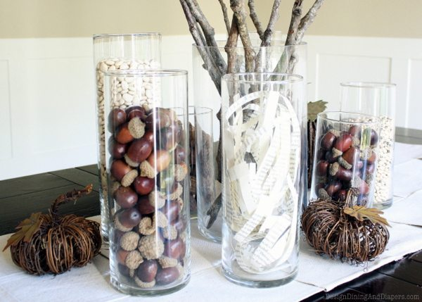 Rustic Fall Centerpiece, neutral fall decor, natural elements, fall centerpiece, branches, acorns, book pages, cylinder vases