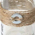 Mason Jars Adorned with Jute and Washers, DIY mason jars, mason jar projects, washers and jute, vintage jars