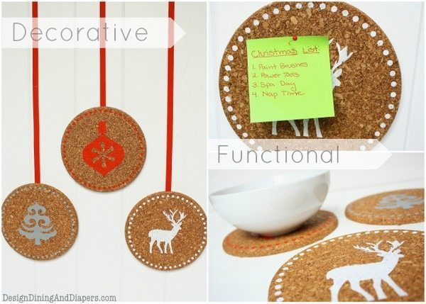 Holiday Cork Trivits by Design, Dining + Diapers, painted corkboards, holiday decor, reindeer silhouettes, christmas hot pads, red white gray, serving pieces