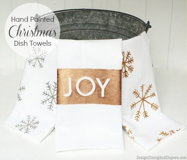 Hand Painted Christmas Dish Towels, white christmas dish towels, metalic paint, jacquard luminere, snowflake towels, holiday gift idea, homemade holiday gifts