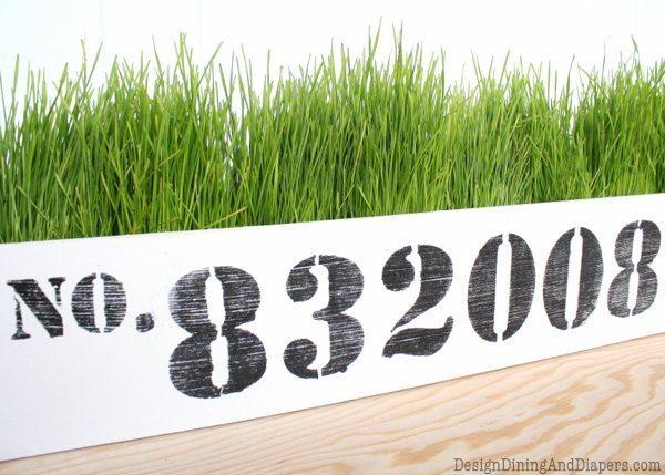 DIY Planter, wheatgreass planter, DIY Wheatgrass planter, Long and narrow planter, vintage, rustic, vintage numbers, industrial farmhouse decor, white planter