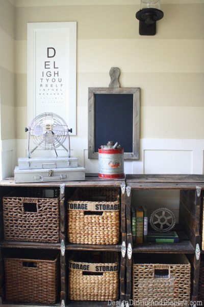 Industrial Family Room Makeover, DIY room makeover, industrial space, vintage decor, DIY vintage accessories, pallet storage center, striped walls, board and batten, antiques, rustic rooms