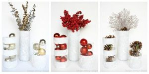 Winter Vases Using Dollar Store Finds