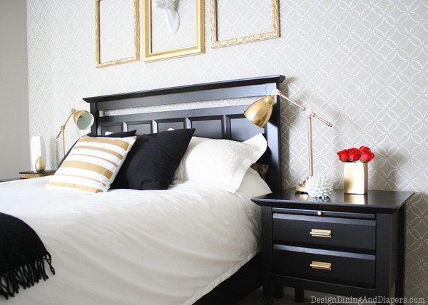 diy bedroom, bedroom makeover on a budget, mid-century modern rooms, black and gold rooms, gold accents, cutting edge stencils, gray walls, benjamin moore cosmopolitan, white deer silhouette, stenciled walls, pharmacy lamps
