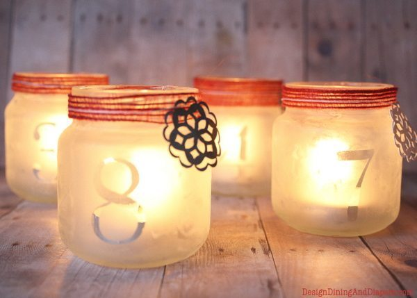 Luminary Advent Calendar, diy advent calendar, christmas crafts, etching cream  projects, candle advent calendar, baby food jar craft