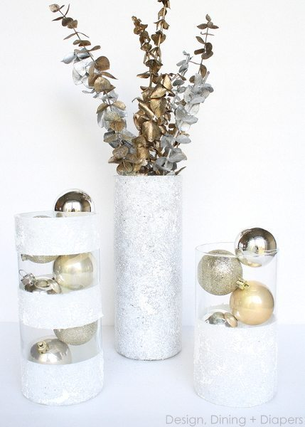 dollar store gifts, dollar store crafts, winter center pieces, red & white, gold & Silver, pine cones, painted vases, snow texture, faux snow, cylinder vase projects
