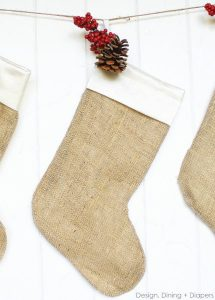 Simple Burlap Christmas Stockings