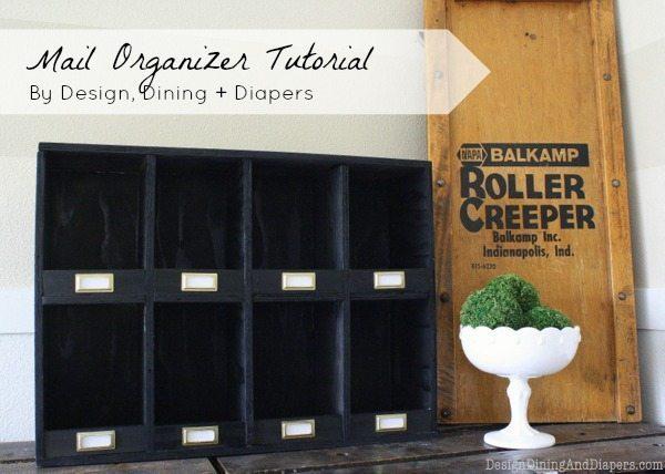 vintage mail organizer, desk organizer, DIY mail organizer, vintage, industrial organizer, black mail organizer,