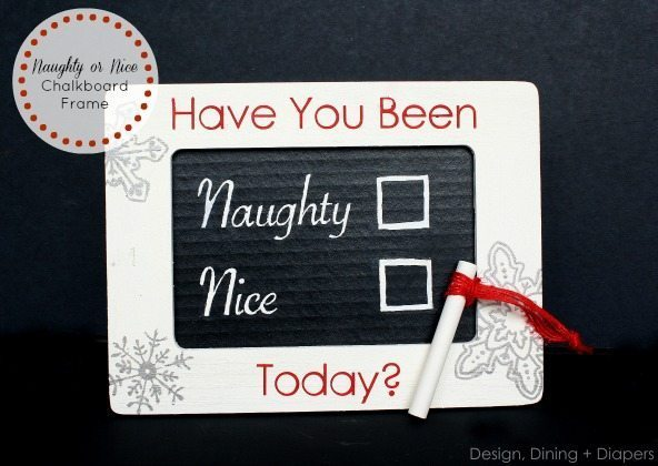 Naughty or Nice Chalkboard Frame by Design, Dining + Diapers, snowflakes