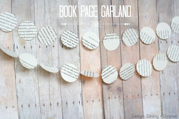 Book Page Garland by Design, Dining + Diapers