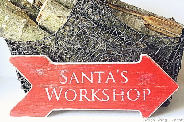 Distressed Santa's Workshop Sign, design dining + Diapers, red and white, vintage signs, holiday signs, diy christmas signs, wooden christms signs, arrows, rustic christmas