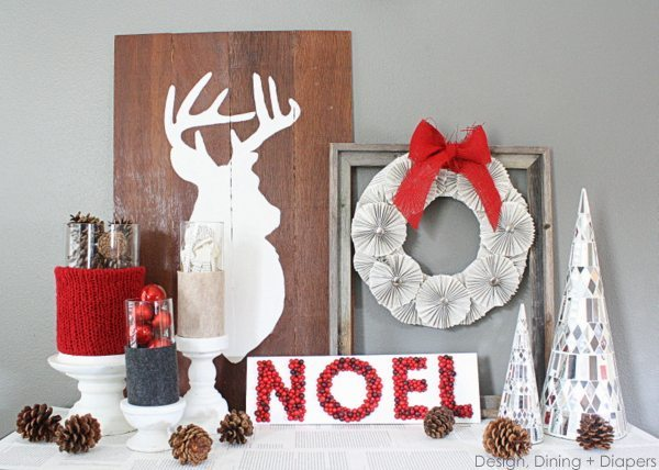 Rustic Red & Gray Christmas Vignette by Design, Dining + Diapers