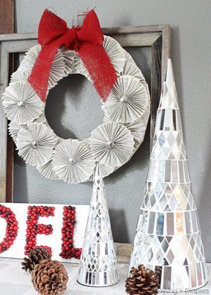 Christmas Vignette by Design, Dining + Diapers, red & Gray, rustic christmas, holiday decor, red christmas, deer silhouette, bookpage wreath, bookpage decor,