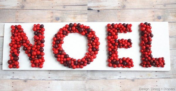 3D NOEL Sign by Design, Dining + Diapers, christmas signs, reclaimed wood signs, cranberries, red & white signs, noel signs, diy christmas crafts, recycled christmas crafts
