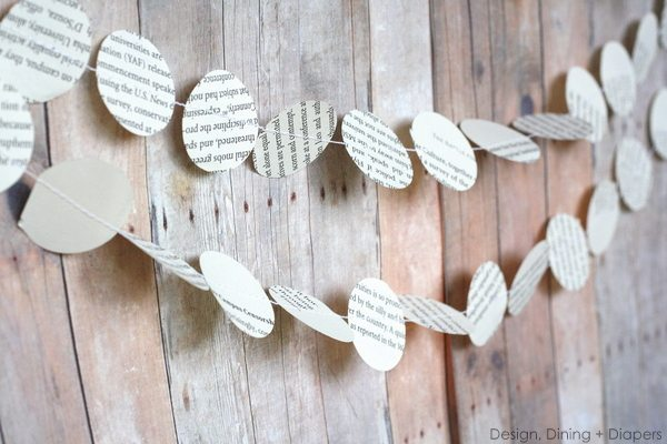 book page garland, book page crafts, recycled book art, paper crafts, sewing garland, sewing paper garland