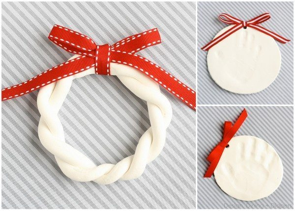 Hand Print Ornaments with Design, Dining + Diapers, pottery barn kids hand print ornaments, hand print holiday, red & white