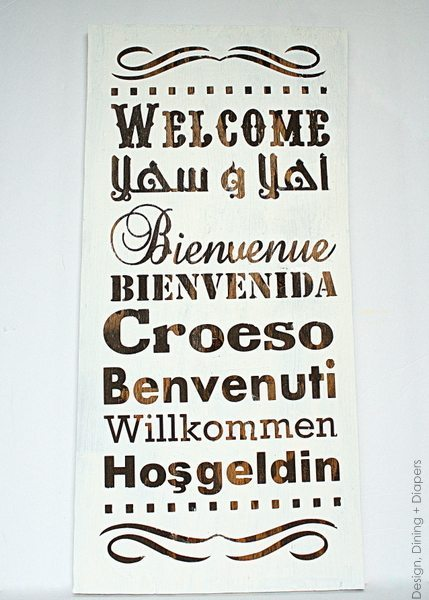 How To Make A Multi-Lingual Wood Welcome Sign, diy welcome sign, two tone welcome signs, welcome subway art, multi-lingual signs, white and dark stain wood