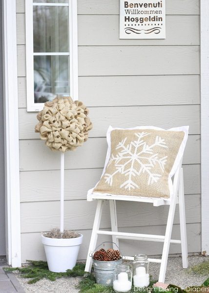 Winter White Porch by Design, Dining + Diapers, winter porch, diy porch, burlap pillows, burlap trees, rustic porch, white and wood, pine cones for decor