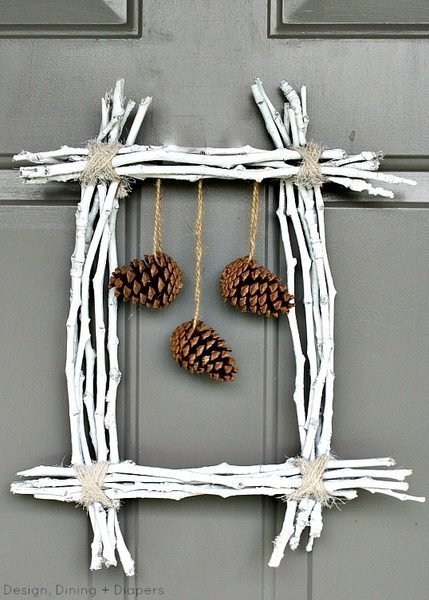 Pine Cone and Twig Wreath by Design, Dining + Diapers, winter wreath, white wreath,  twig wreath, pine cone wreath