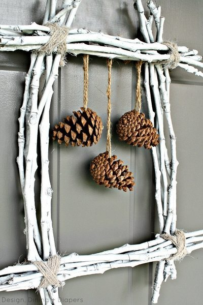 Pinecone and Twig Wreath3 by Design, Dining + Diapers