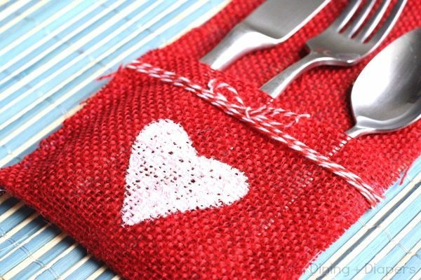DIY Burlap Utensil Holder Valentine's Day Edition by Design, Dining + Diapers