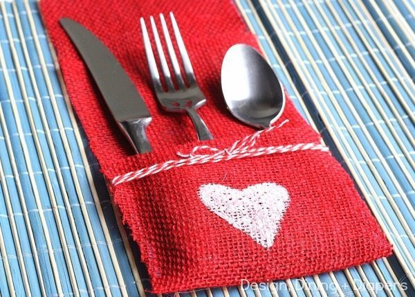 DIY Burlap Utensil Holder by Design, Dining + Diapers