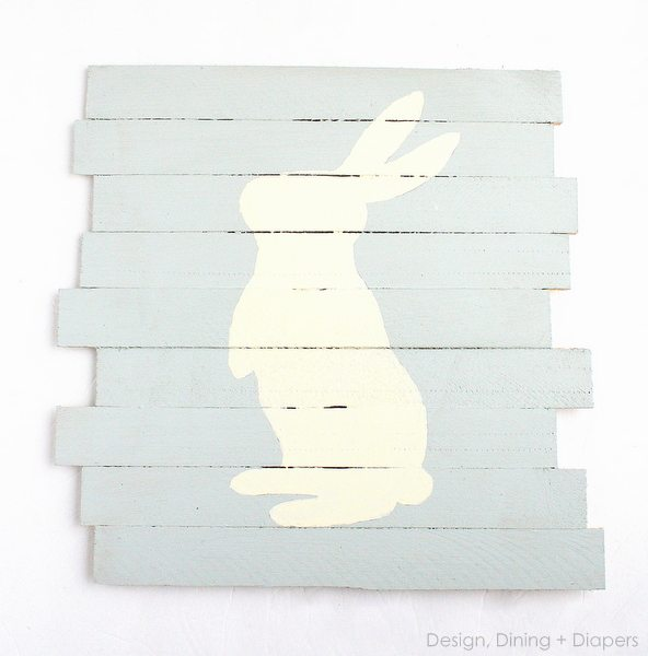 Easter Pallet Art, How To Create A Mini-Pallet Sign For Easter by Design, Dining + Diapers, DIY Easter Sign, Bunny Art, Bunny Sign, Easter Decor