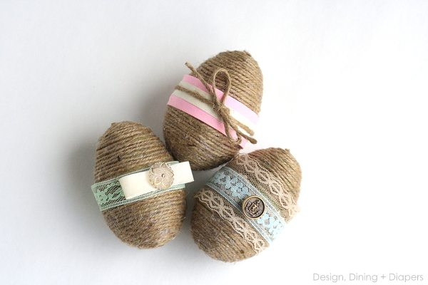 Shabby Chic Easter Eggs From Dollar Store Plastic Eggs by Design, Dining + Diapers, rustic easter eggs, jute eggs, spring decor, diy easter eggs, decorative easter eggs, dollar store craft