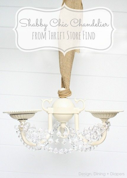 Shabby Chic Chandelier Makeover by Design, Dining + Diapers