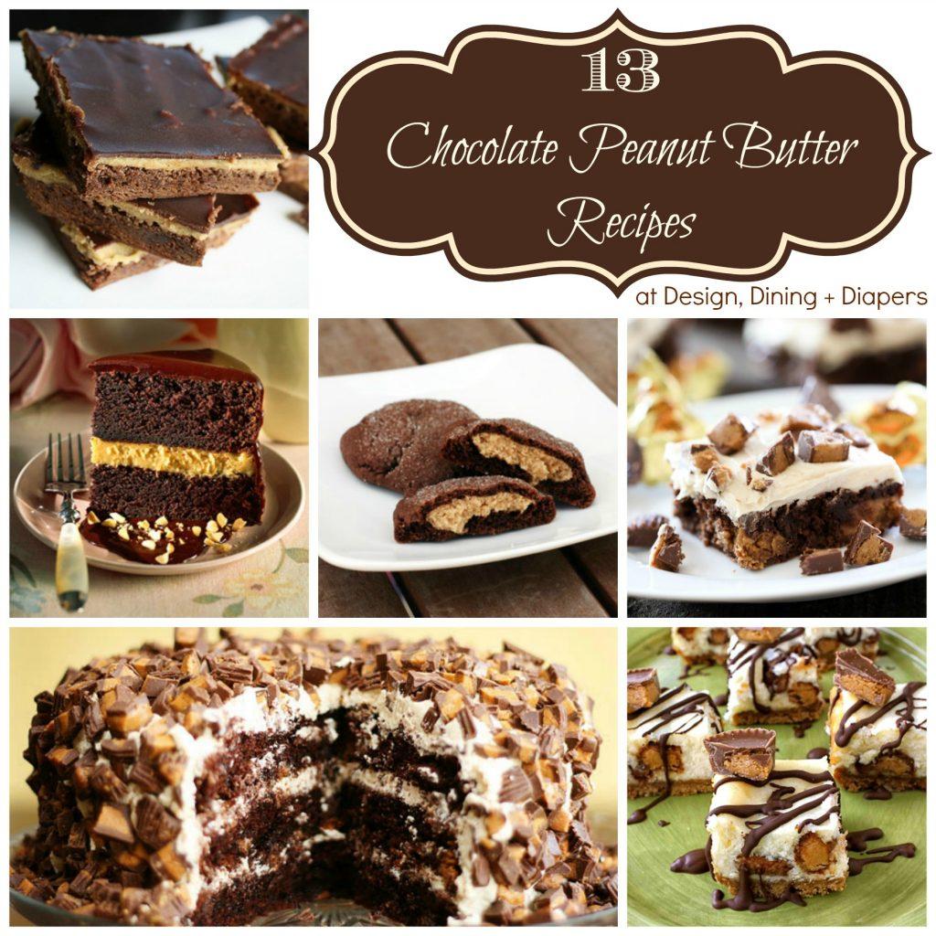 13 Chocolate Peanut Butter Recipes via designdininganddiapers.com