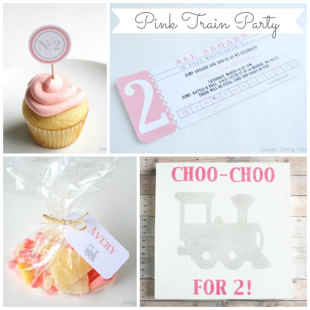 Pink Train Party by Design, Dining + Diapers
