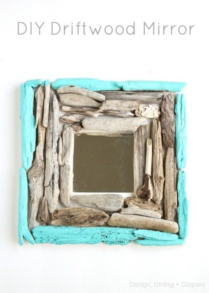 DIY Driftwood Mirror by designdininganddiapers.com