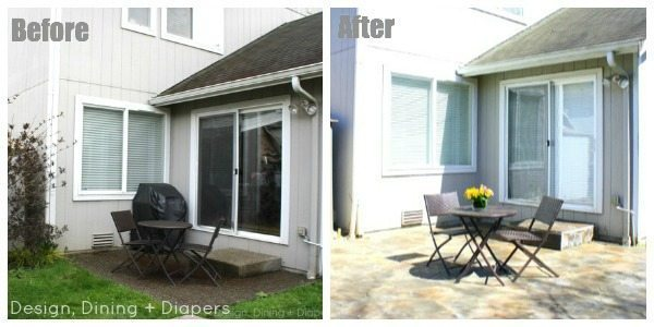 DIY Stone Patio Before and After by Design, Dining + Diapers